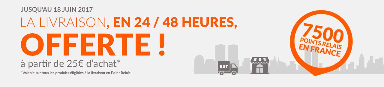 Jusqu'au 18 juin 2017 la livraison, en 24 48 heures, offerte à partir de 25 euros d'achat* 7500 points relais en france