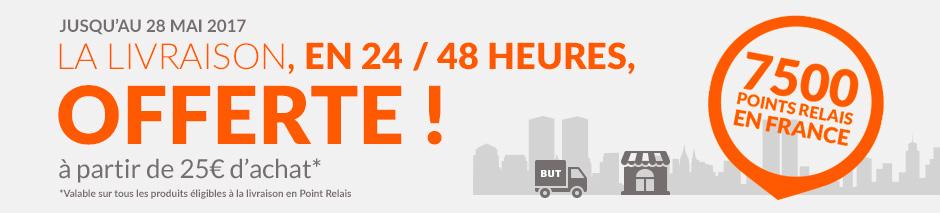 Jusqu'au 28 mai 2017 la livraison, en 24 48 heures, offerte à partir de 25 euros d'achat* 7500 points relais en france