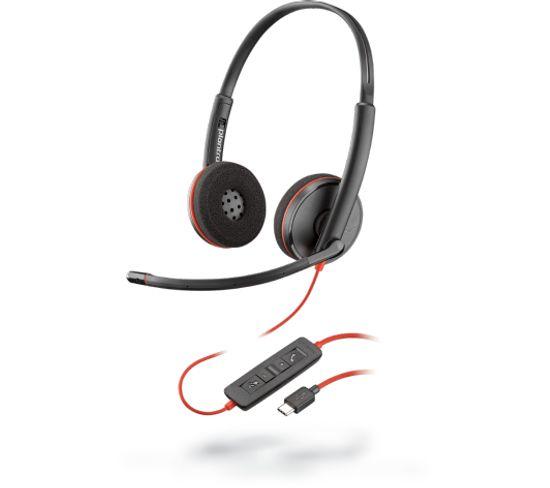 Casque Micro Filaire Blackwire 3225 Noir, Rouge