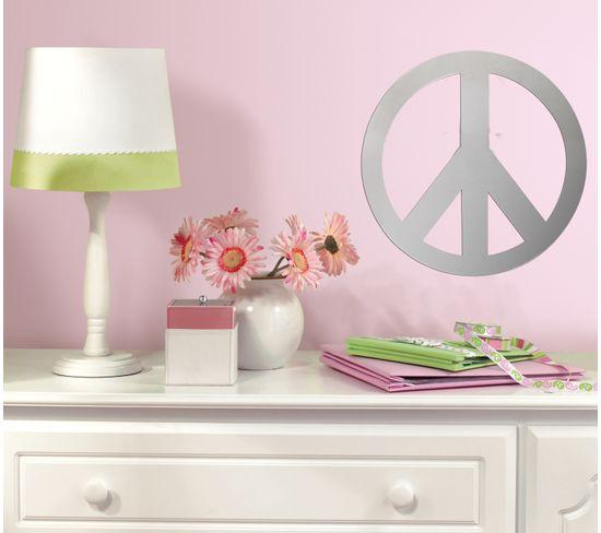 Sticker Repositionnable Miroir Peace And Love - Miroir Signe Peace