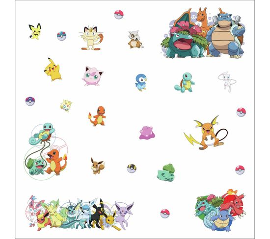 25 Stickers Repositionnables Pokemon Nintendo 23cm X 44cm