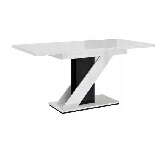 Table A Manger Extensible Evan - Blanc Laque Et Noir 120-160 Cm