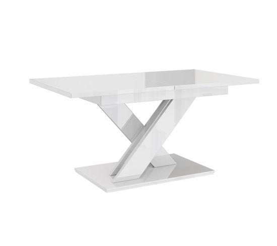 Table A Manger Extensible Bruce - Blanc Laque 140-180 Cm