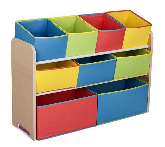 Meuble De Rangement Enfant Avec 9 Bacs Multicolores Plastiques Blancs Signature Delta Children