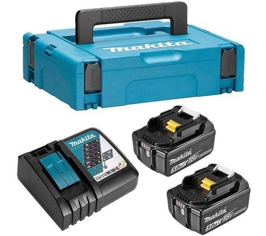 Pack Energie 18 V Li-ion - 2 Batteries (5ah) + 1 Chargeur Rapide En Coffret Makpac - 197624-2