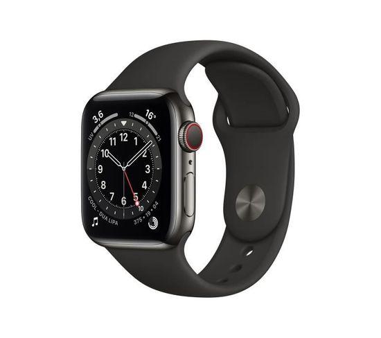 Montre Connectée Series 6 Gps + Cellular Boîtier En Acier Inoxidable Graphite Bracelet Sport Noir