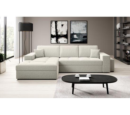 Canapé d'angle convertible méridienne gauche ALICIA tissu Monet chiné gris clair