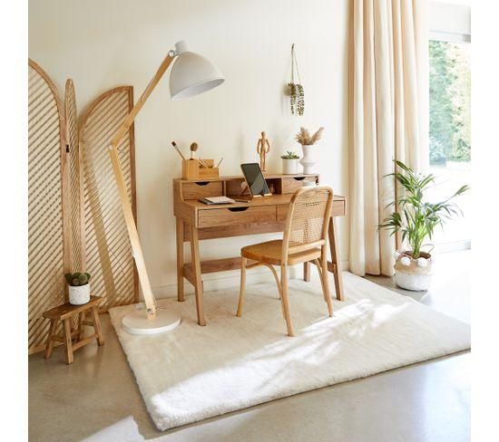 lampadaire bois métal H.185 cm OSLO blanc