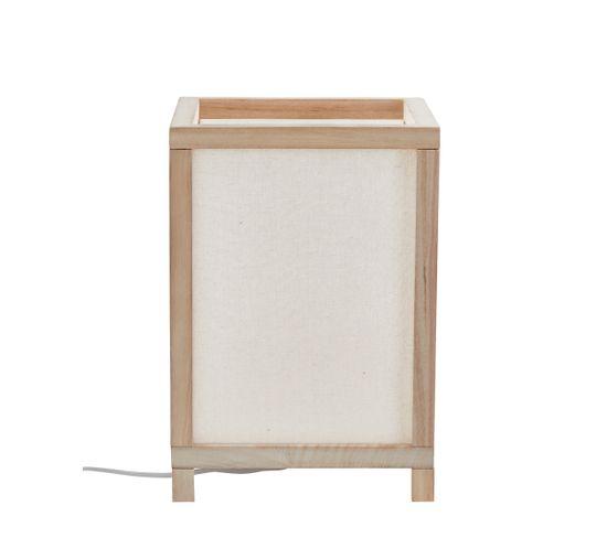 Lampe carrée bois coton H33 cm HINATA blanc