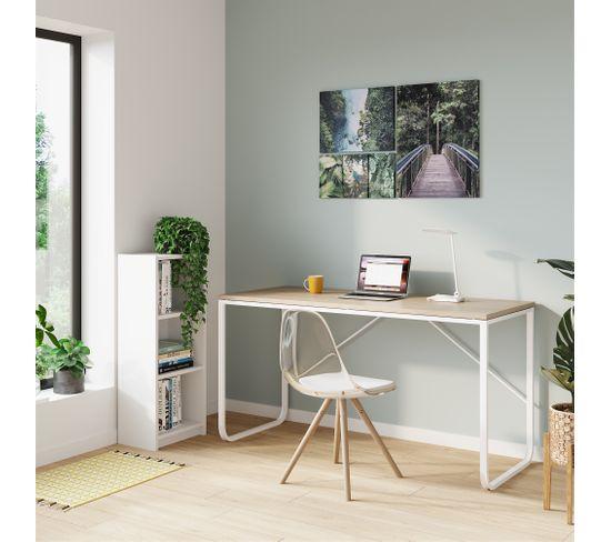 Plateau réversible L. 150 cm VERSO Imitation chêne et blanc