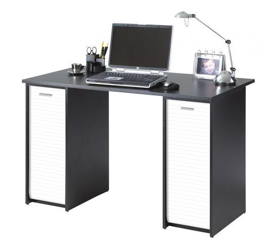 Bureau Noir 2 Caissons A Rideau 120 Cm Coloris Blanc Bureau Secretaire But
