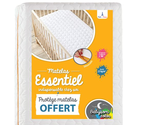 Babysom - Matelas Bébé Essentiel + 1 Protège Matelas Imperméable Offert- 70x140cm - Déhoussable - Epaisseur 12cm