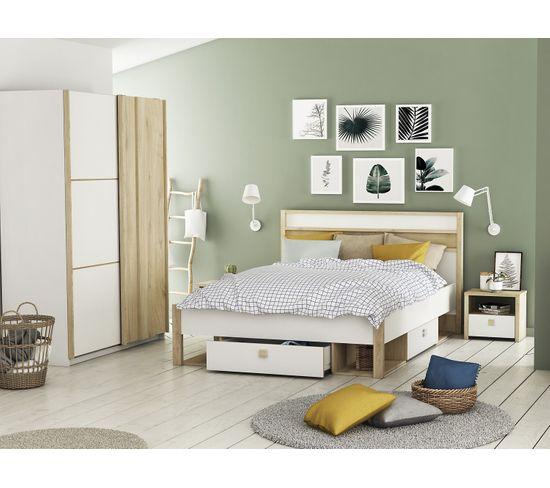 Kit 3 tiroirs 4 niches HEVA imitation chêne et blanc