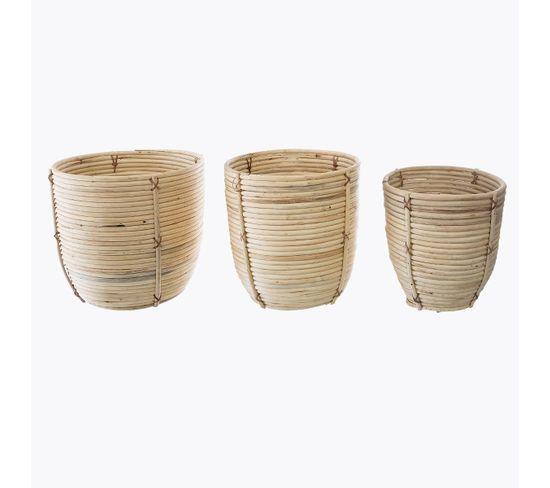 Set de 3 cache pots ROTIN Naturel