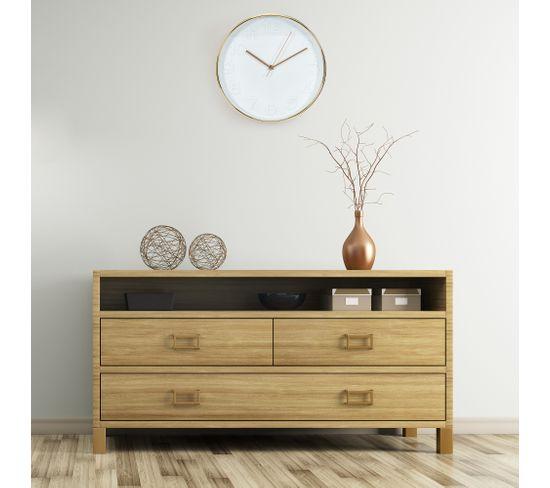 Horloge D.30 cm COOPER Blanc/cuivre