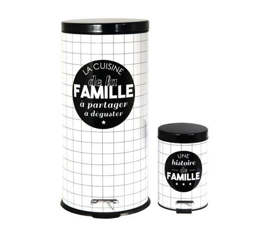 Poubelles Avec Seau Amovible La Vie En Famille (lot De 2)