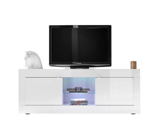 Meuble TV Design Laqué Blanc 180 Cm Latte - Meuble TV BUT