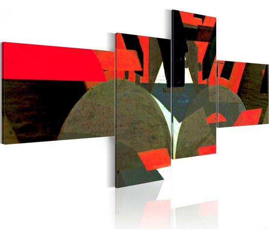 Tableau Noir, Rouge Et Formes Abstraites 200 X 90 Cm