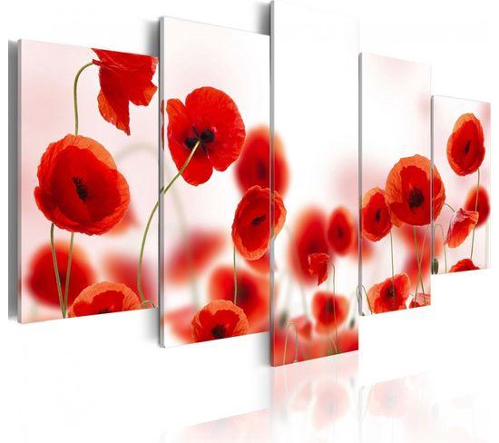 Tableau Coquelicots Rougeâtres 200 X 100 Cm