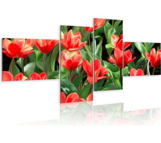 Tableau Tulipes Rouges Dans La Prairie 100 X 45 Cm