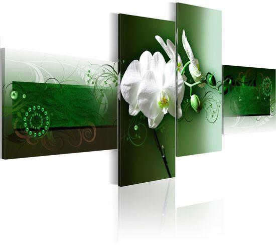 Tableau Orchidées En Vert Profond 100 X 45 Cm