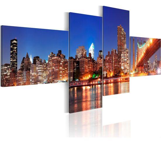 Tableau Panorama De Nuit New York 100 X 45 Cm