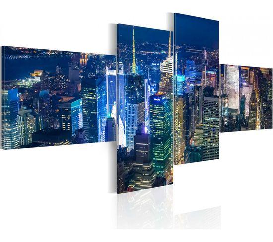 Tableau New York En Couleur Indigo 100 X 45 Cm