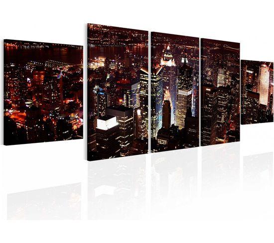 Tableau Nuit Noire À New York - 100 X 30 Cm