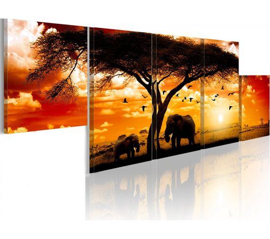 Tableau Coucher De Soleil Rouge Afrique - 100 X 30 Cm
