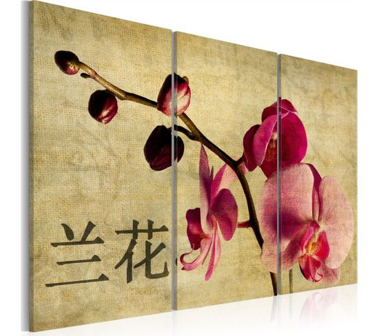 Tableau Triptych, Orient And Orchid 60 X 40 Cm