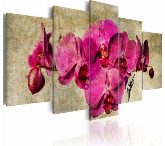 Tableau Orchids On Canvas - 5 Pieces 200 X 100 Cm