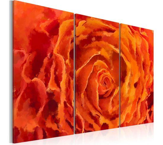 Tableau Rose En Orange Triptyque 60 X 40 Cm