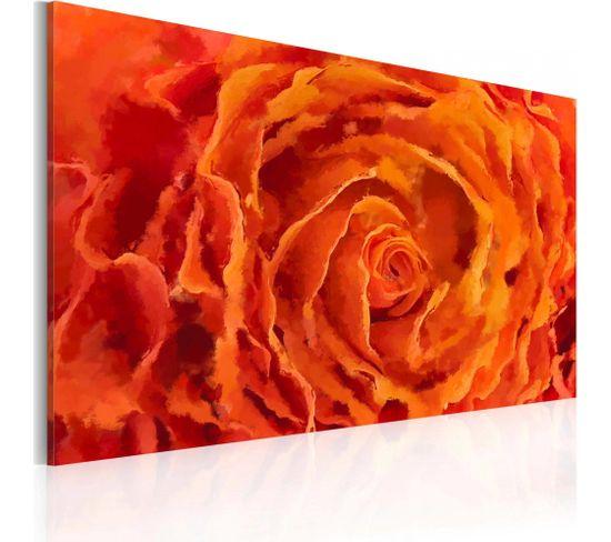 Tableau Rose En Orange 90 X 60 Cm
