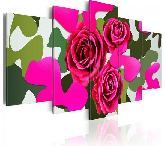Tableau Roses Au Neon 100 X 50 Cm