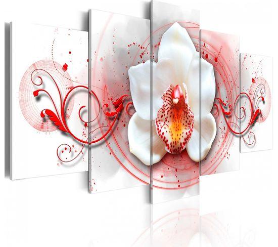 Tableau Orchidée - Expression Rouge 200 X 100 Cm
