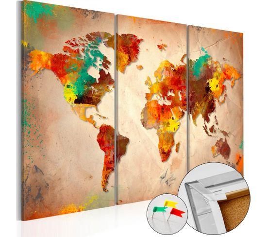 Tableau En Liège Painted World 60 X 40 Cm