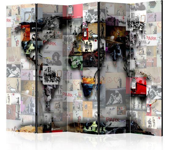 Paravent 5 Volets World Map Banksy