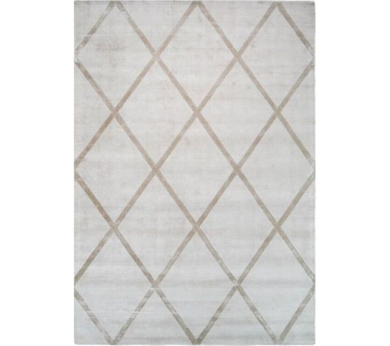 Tapis Fait Main Luxe 210 Ivory Taupe 120 X 170 Cm