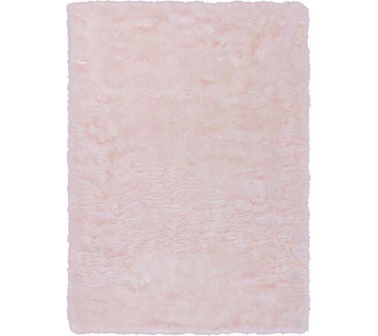 Tapis Tufté À La Main Couronne 110 Blanc Rose Poudre 180 X 280 Cm