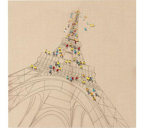 Tableau Peint Huile Voyage À Paris - 3.8 X 80 Cm