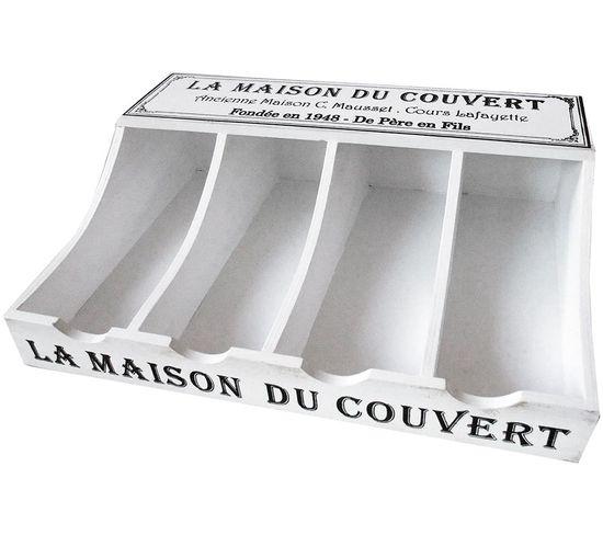 Range Couverts 120 Cm: Range Couverts En Bois Blanc 40 X 30 X 11 Cm