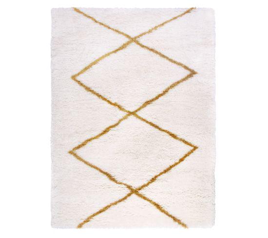 Tapis 150x200 cm HOME blanc/jaune