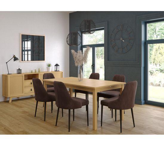 Table rectangleL.175/255 RUBEN Noyer clair