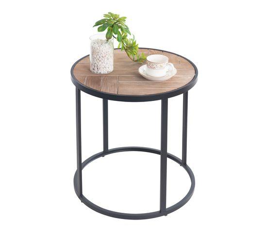 Table Basse Ronde Jerico En Metal Noir Et Decor Bois Naturel Bout De Canape Selette But