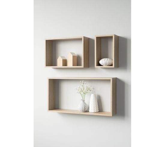 Set de 3 étagères rectangles SHELVY Imitation chêne