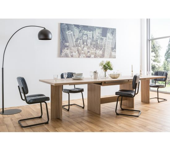 Table à manger extensible LINOY Imitation chêne