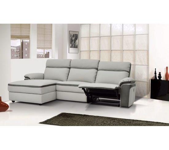 Canapé d'angle relax manuel méridienne gauche WILLY PU et microfibre gris clair