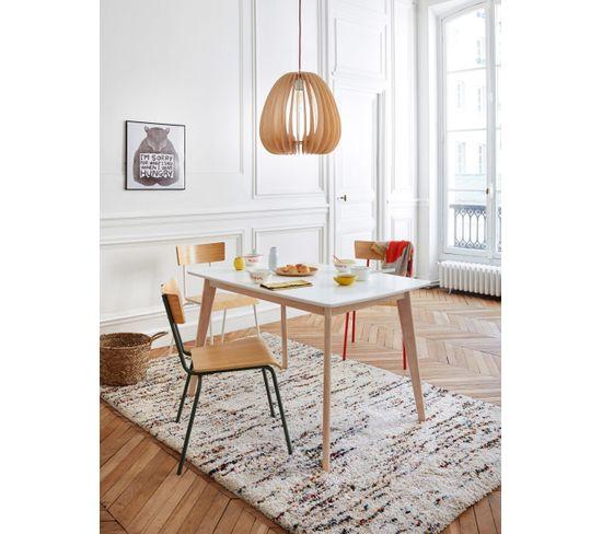 Table extensible L120 > 160 cm MALENA scandinave Bois et blanc