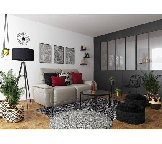 Canapé 3 places 2 relax électriques EVOGG cuir et croûte taupe gris