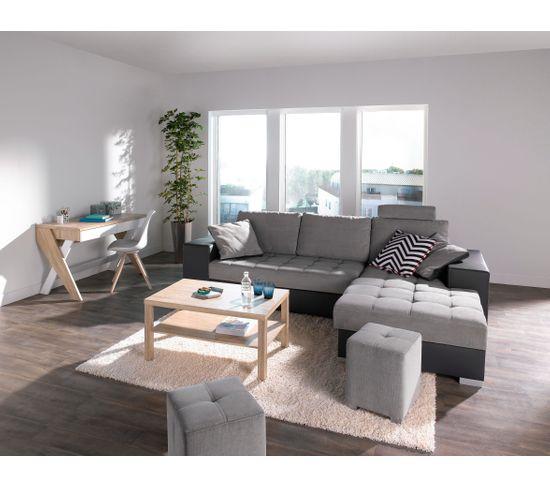 Table basse rectangulaire NEXT 3 avec 2 plateaux Chêne sonoma